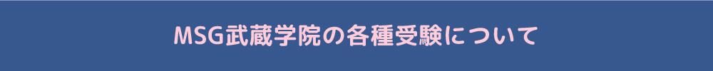 MSG武蔵学院の各種受験について